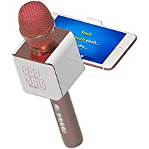 tzumi 4956-RG PopSolo Bluetooth Karaoke Microphone and Speaker With Retractable Smartphone Holder - Compatible With Most Karaoke Apps - Rechargeable and Wireless - Rose Gold