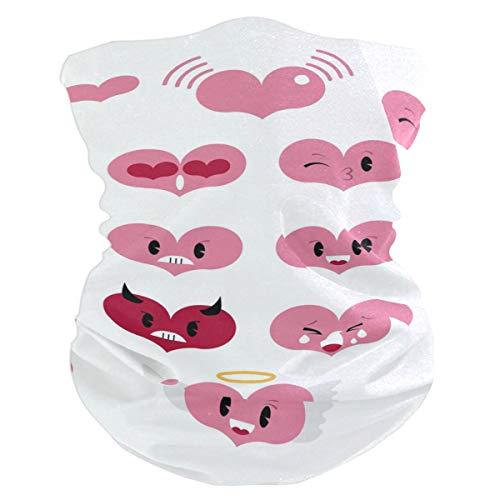 Heart Emoji Set Balaclava Womens Headband Scarf Mens Versatile Bandana, Muffler, Neck Gaiter, Magic, Aliceband Collars ()