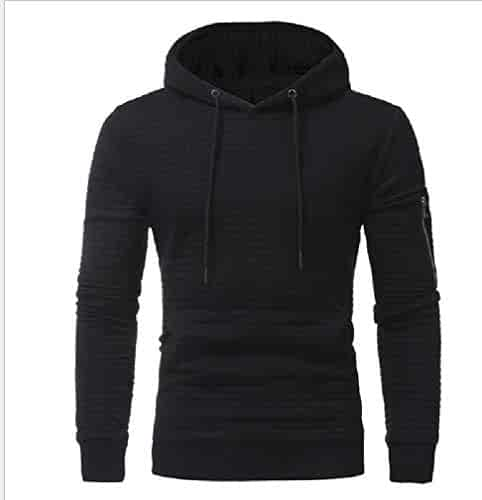 Hajotrawa Smallwin Men Pocket Drawstring Fitness Pullover Hooded Sweatshirts