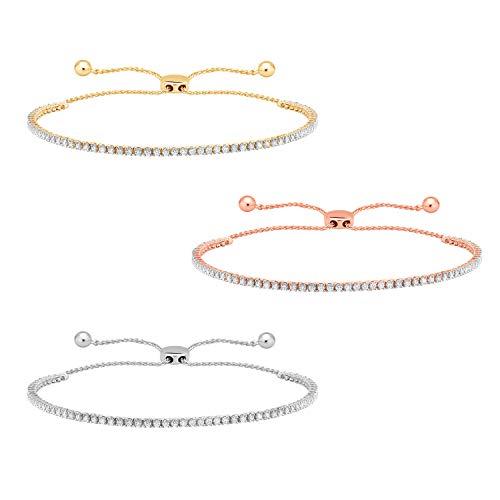 "1 Ct Round Cut Natural Diamond Tennis Bracelet Bolo Adjustable 9"" 10k Gold"