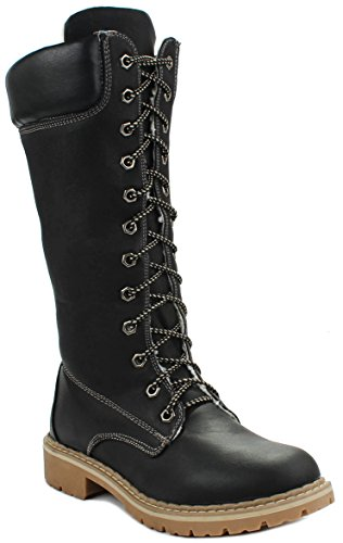 Forever Broadway12 Lace Up Fur-lined Top Mid Calf Military Combat Tall Boots
