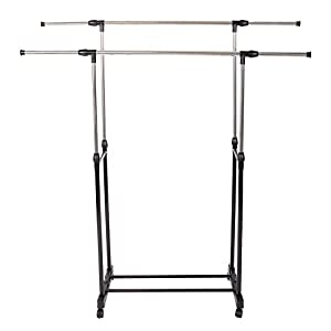 Mefeir Free Standing Clothes Drying Racks with Lockable Wheels, Double Rod Hanger, Adjustable Clothing Rack, Rolling Rack Steel, Commercial Grade Laundry Drying Rack