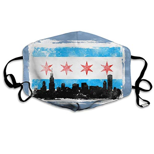 Chicago Flag W White BG Distressed Printed Mouth Masks Unisex Anti-dust Masks Reusable Face Mask for $<!--$7.99-->