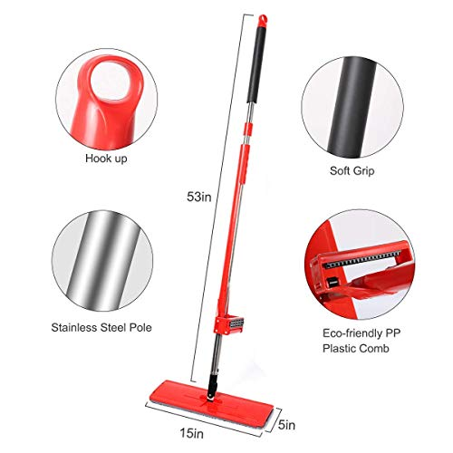 Microfiber Hardwood Floor Mop, YAMTION Lazy Flip Flat Mop 360 Spin & Easy Self Wringing Wet and Dry Flip Mop 15 Inch with Stainless Steel Handle – Red (Total of 4 Microfiber Mop Pads) by YMATION (Image #4)