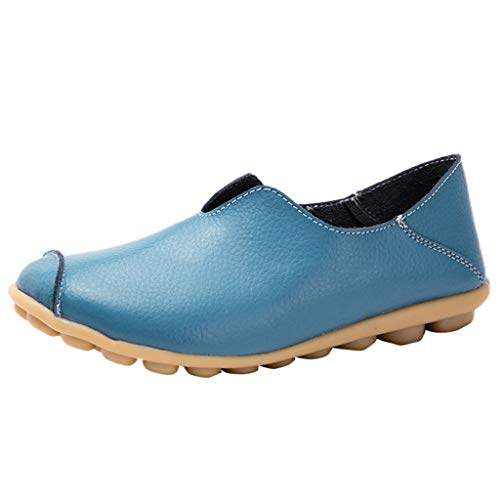Women Flat Boat Shoes,Classic Round Toe Leather Penny Loafers Slip-On Driving Moccasins Sneaker Comfort Single Shoes Light Blue