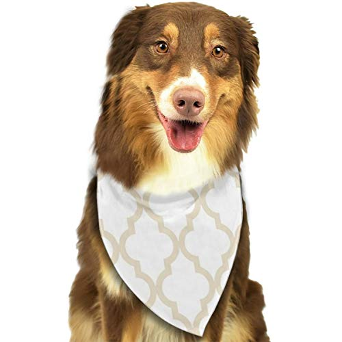 (Customized Moroccan Quatrefoil Pattern? Muslin Beige Classic Pet Dog Scarf Washable Adjustable Triangle Pet Scarf Bow, Suitable For Small And Medium Pets)