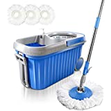 Masthome 360° Spin Mop 8L Stainless Steel Bucket with Wheels 3 Microfiber Mop Heads Easy Rolling Mop and Bucket System for Floor Cleaning