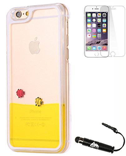 Bukit Cell Liquid Glitter Bundle: Yellow Fish Quicksand Glitters Water Dynamic Bling Transparent Hard Back Case Cover for iPhone 6 (4.7 Inch) + Screen Protector + Metallic Stylus Touch Pen ()