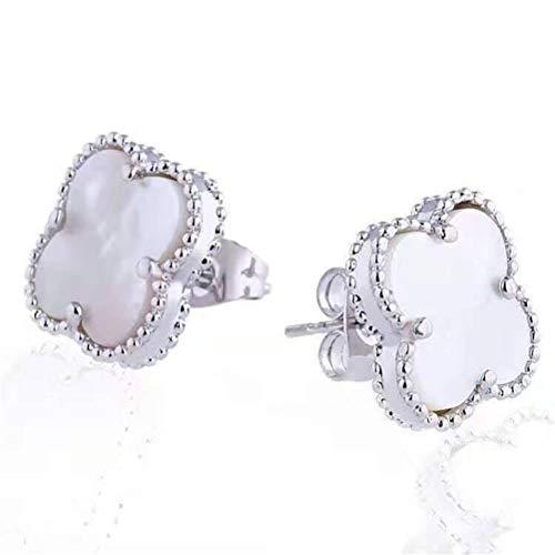 Women Black Onyx 18K Gold Plated Four Clover Charm Stud Earrings/Leaf Clover Stud Earrings,925 Sterling Silver 4 Color Flower Shape Fashion Stud Earrings (White-white gold)
