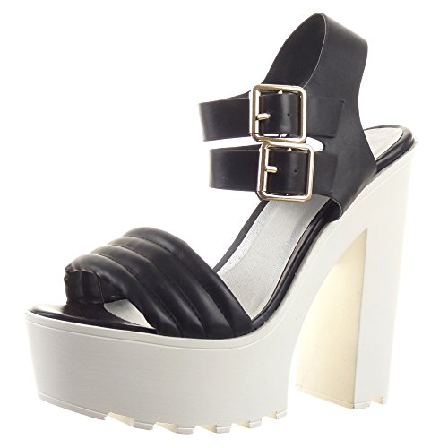 Sopily - damen Mode Schuhe Sandalen Pumpe Stiletto Plateauschuhe Sexy String Tanga Linien - Schwarz