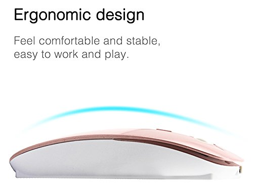 LOVRI 2.4G Rechargeable Slim Wireless Mouse with USB Receiver, 3 Adjustable DPI Levels for Notebook, PC, MAC, Laptop, Computer, Macbook (Rose Gold) by LOVRI (Image #4)