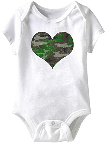 Camo Soldier Heart Funny Romper Infant Baby Creeper, White, 12 Months ()