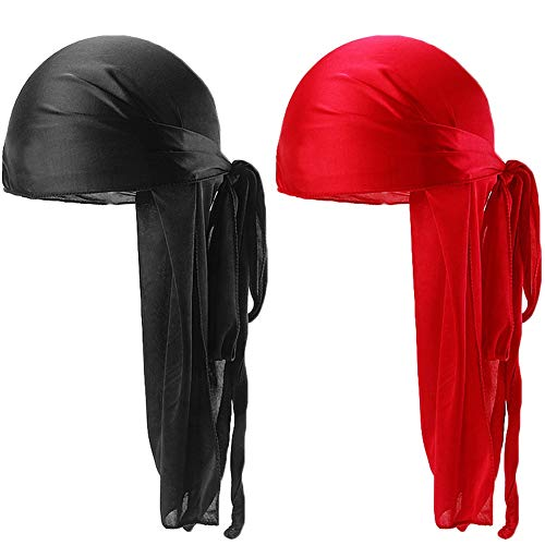 Unisex 2PCS Deluxe Silky Durag Extra Long-Tail Headwraps Pirate Cap 360 Waves Du-RAG (Black+Red)]()