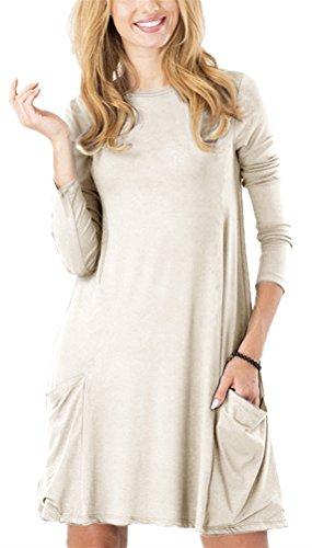 (Zero City Womens Casual Pockets Plain Flowy Simple Swing T-Shirt Loose Dress, 08beige, Large)