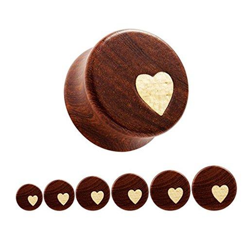 Bigbabybig Women Ear Plugs 00g Tunnels Body Piercing Jewelry for Man Heart Earrings Nature Red Sandal (00g Tunnels Body Jewelry)