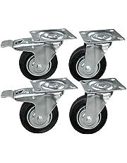 4 stuks transportwielen in een set mm, wielen met rem van het merk HRB, heavy duty wielen met max. kg totale draagkracht, geschikt voor bijv. wielen voor palletmeubels (mm)