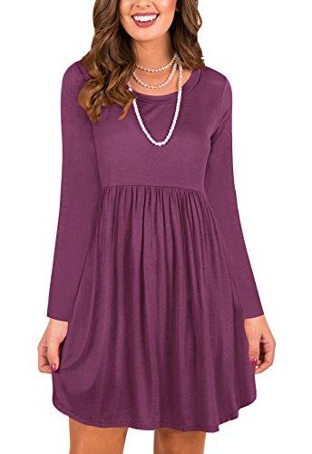 LAVENCHY Womens Dress A-Line Swing Christmas Ladies Beach Maternity Long Sleeve Plus Size Casual T-Shirt Dresses For Women Mauve,L (Empire Style Dress)
