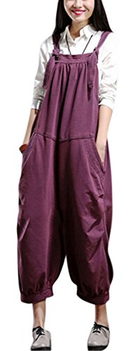 Youtobin Womens Stretch Skinny Preppy Baggy Denim Harem Overall Jumpsuit L - Victoria Buy To Beckham Where