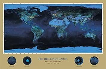Amazon brilliant earth night lights from space map poster 24 brilliant earth night lights from space map poster 24 x 36 inches gumiabroncs Gallery