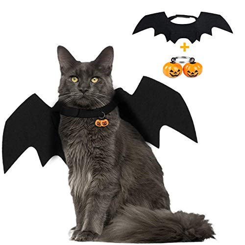 Heyeery Pet Dog Cat Bat Wings, Pet Cool Bat Wings Halloween Costume, for Black Halloween Bloody Zombie Party for Small Dogs and Cats with 2 Pumpkin Bell (Black)