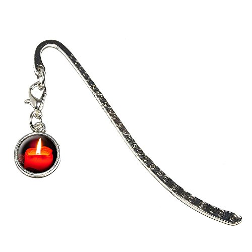 Graphics and More Christmas Candle-Advent Wreath Holiday Metal Bookmark Page Marker with Charm (Charm_Book_0362)