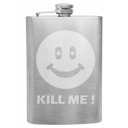 Scary Smiley Face (Kill Me Smiley Face 8 oz Etched Hip Flask)