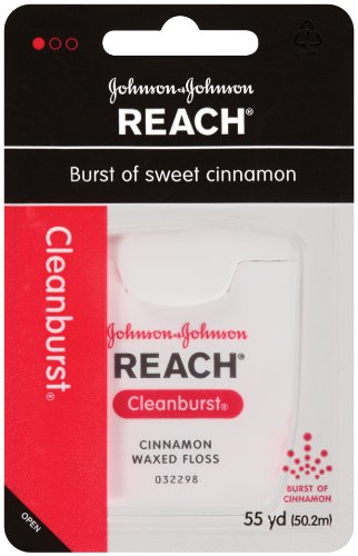 Reach Cleanburst Cinnamon Waxed Floss, 55 Yards   (Pack of 6) (Waxed Dental Floss compare prices)