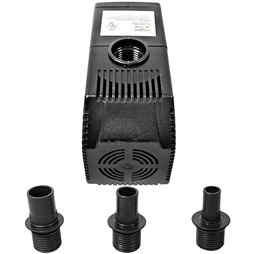 (Sunnydaze 290GPH Submersible Water Pump with 6 Foot Power Cord, 3 Nozzles - For Fountain, Pond, Aquarium, Fish Tank, Hydroponics)