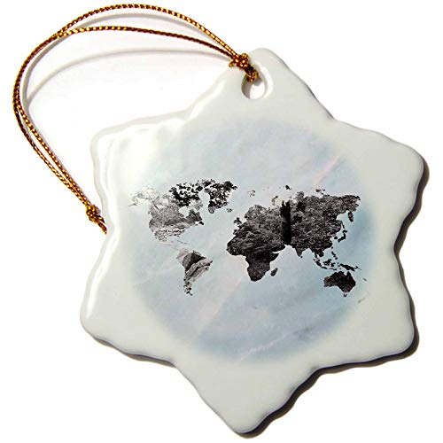 3dRose Made in The Highlands  Vector  Marble World map  Graphical map of The World The World is Full of Water  3 inch Snowflake Porcelain Ornament ORN_293013_1
