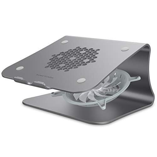 Bestand Laptop Stand with Fan, Aluminum Cooling Computer Stand Holder Compatible for MacBook Air, MacBook Pro, Grey (Patented)