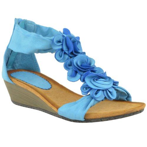 Mode Dorstige Dames Zomer Sandalen Strappy Bloem Lage Hak Platte Wig Schoenen Maat Hemelsblauw Kunstleer