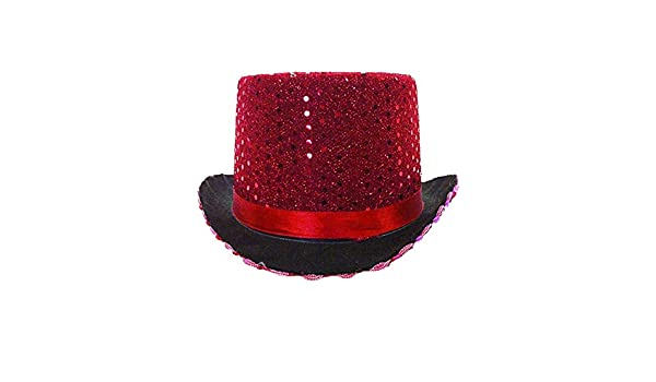 Amazon.com  Adult s Red Sequin Butler Magician Top Hat Costume Accessory   Clothing 7e39e451bf12