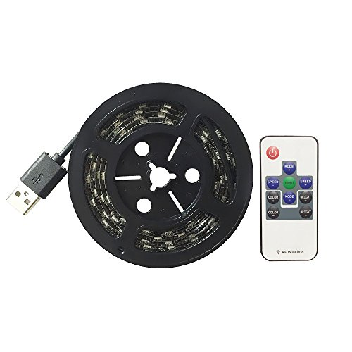 WenTop-Led-Strip-Lights-Waterproof-USB-Powered-5V-5050-RGB-Black-Strip-Light-656ft2M-60leds-Flexible-Tape-Light-with-RF-Remote-Controller-for-TV-Back-Lighting-PC-Case-Desk-TrucksUnder-Cabinet