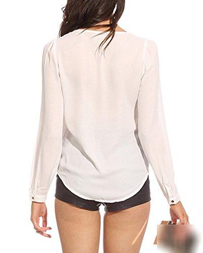 T Bianco Donna Manica Tops Bluse Lunga Elegante Con Shirt V E Camicie Cerniera Collo qPFgq