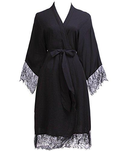 PROGULOVER PROGULOVER's Set Of 8 Cotton Wedding Kimono Robe For Bride and Bridesmaid Eyelash Edge Lace With Gold Glitter by PROGULOVER (Image #2)