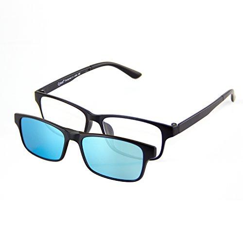 Cyxus [Two in One SET] Blue Light Blocking Glasses with Clip On Polarized Sunglasses, Lightweight Rectangular Frame Men/Women (Blue - Headache Polarized Sunglasses