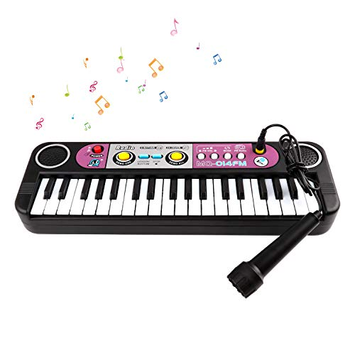 TWFRIC Piano for Kids,37 Keys Keyboard Pianos,Digital Electric Piano Music Instrument with Microphone, Portable Multi-Function Musical Teaching Toy Piano,Festival Birthday for Kids, Black