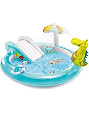 Max mit Inflatable Swimming Pool, Dinosaur Inflatable Pool, Inflatable Water Play Center Small Dinosaur Pool with Slide and Fountain, Summer Family Pool, Suitable for Everyone Functional