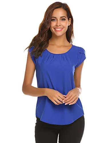 (HOTOUCH Women Casual Short Sleeve Ruched Tops Blouse)
