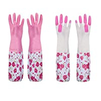 Hoocozi 2Pairs Reusable Housework Cleaning Waterproof Latex Gloves, Pink, L, 19.6""