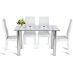 Water-chestnut 5 Piece Dining Set, Kitchen Dining Table and 4 Leather Chairs (White table+chair)