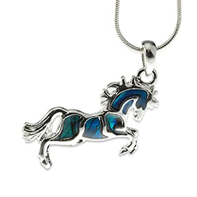 Embolden Jewelry Horse Necklace - Wild Bucking Spirit - [Silver & Abalone Shell] - Stunning Pendant - Great Gift for Country/Equestrian Girls