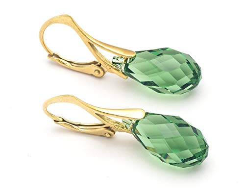 (Erinite green Swarovski Briolette drop crystal gold plated sterling silver 925 lever back bridal bridesmaid earrings 1.3 in)