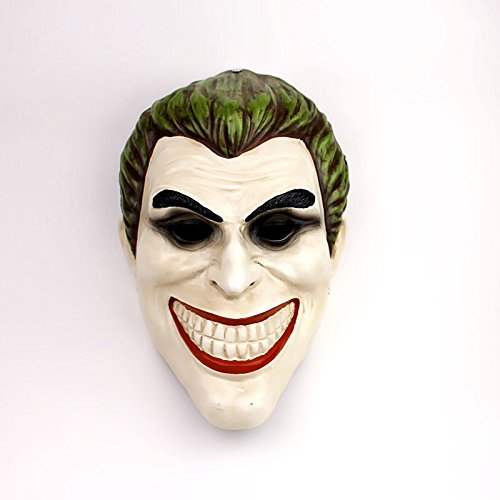 TTXST Halloween Mask Clown Mask Horror Mask Dark Night Knight Resin Green Hair COS Mask Dress Up Personality Props Masks,A]()