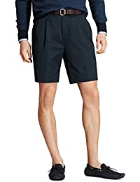 Men's 30280 Pleated Front Light Weight Chino Shorts, Navy
