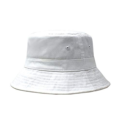 White Cotton Bucket Hat - ChoKoLids Cotton Bucket Hat | Packable Summer Travel Hat | Fishing Hat | 7 Colors (White1)