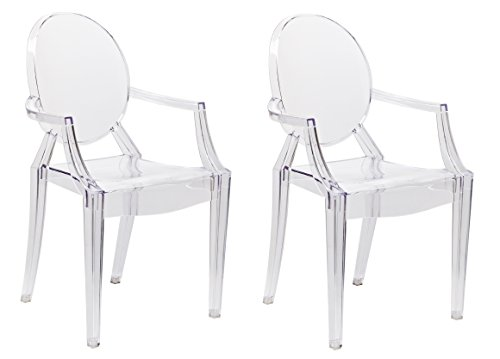 BTEXPERT 5027C-2 Modern Transparent Crystal Accent Dining Arms Chair-Clear Pair, Set of 2, Two Side Ghost Armchair