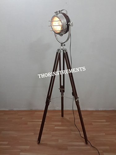 Hollywood Unique Floor Lamp Chrome Focus Light Vintage Style Nautical Home Décor by THORINSTRUMENTS