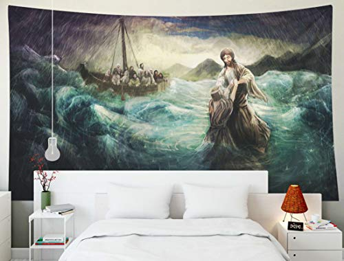 TOMWISH Tapestry Wall Hanging, Tapestries Decoration Hanging Wall Bedroom and Home Décor Dorm Christ Walk on Water 80x60 Inch]()