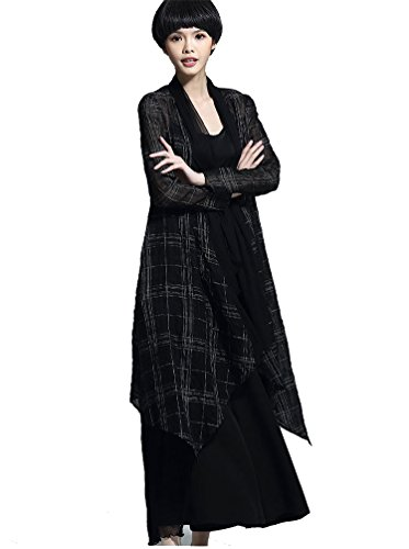 ARTOULAN Summer Ladies Black Linen Silk Plaid Open Front Drape Duster Long Cardigan by ARTOULAN